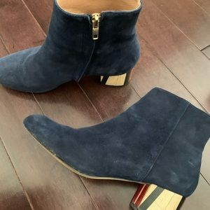 Anthropologie painted heel boot size 8.5 in navy